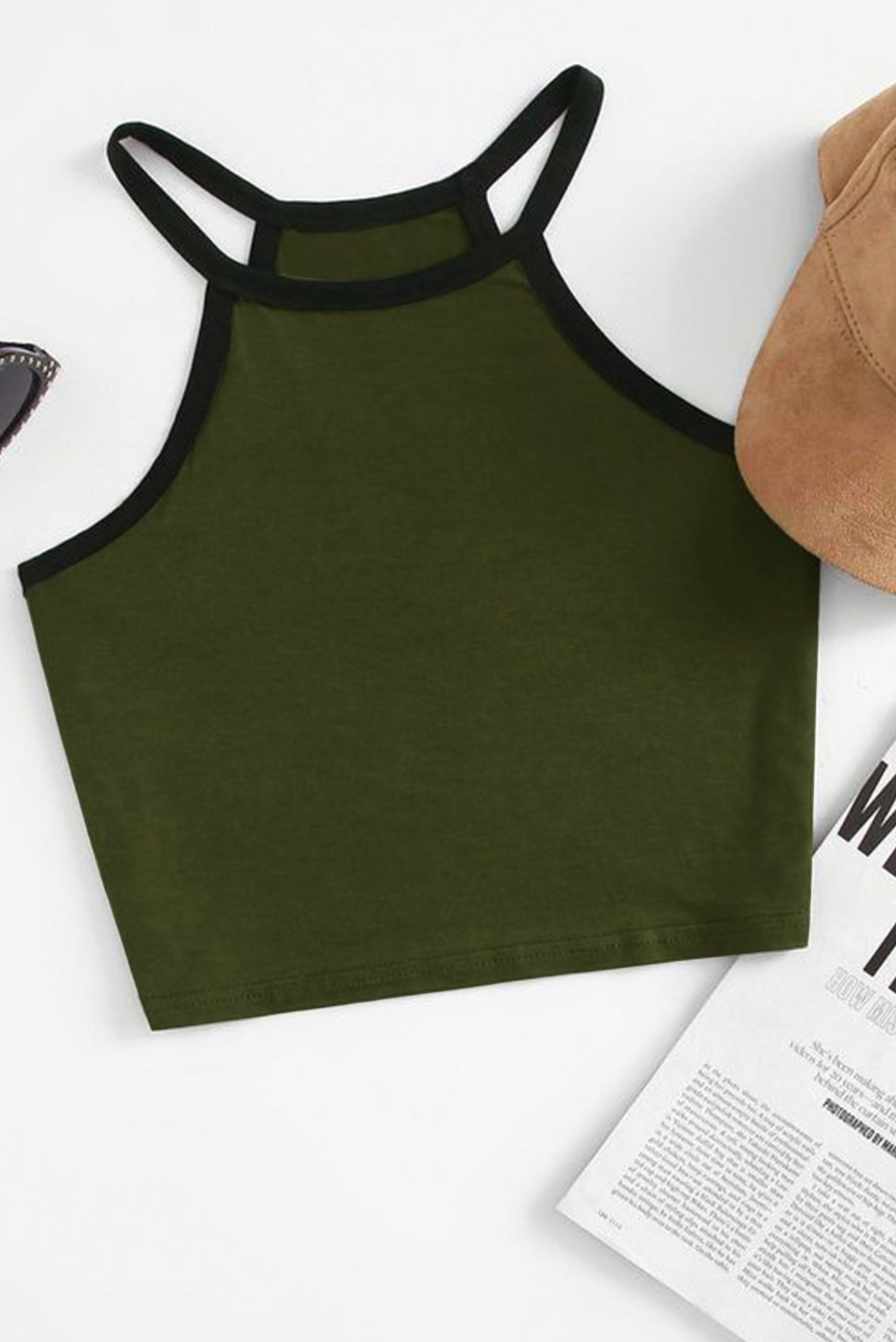 Green Sleeveless crop t-shirt