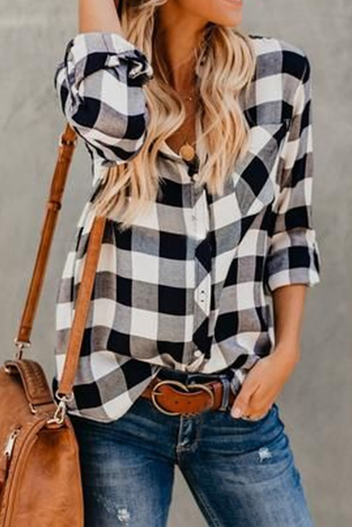 Chilling in the plaids shirt