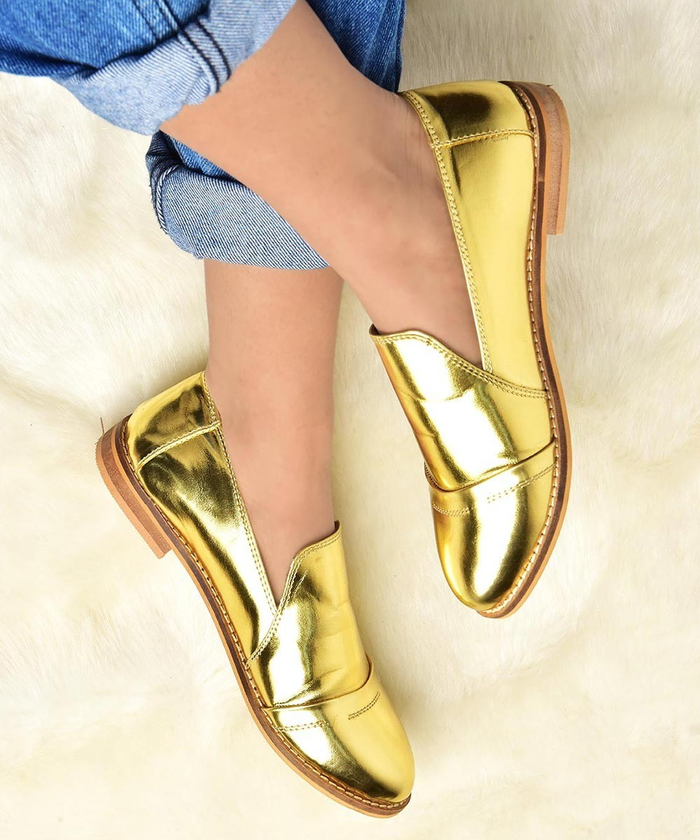Poised to Empower Golden Flat Shoe