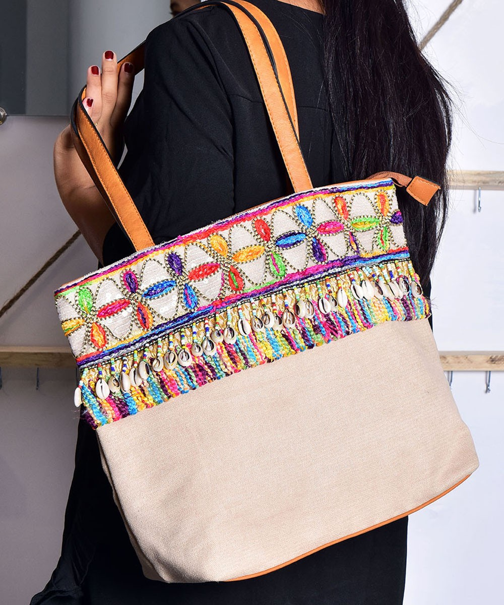 Square Shape Embroidered Handbag