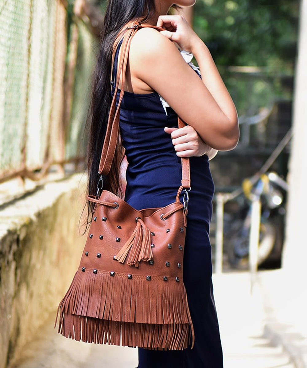 Studded Fringes Brown Bag