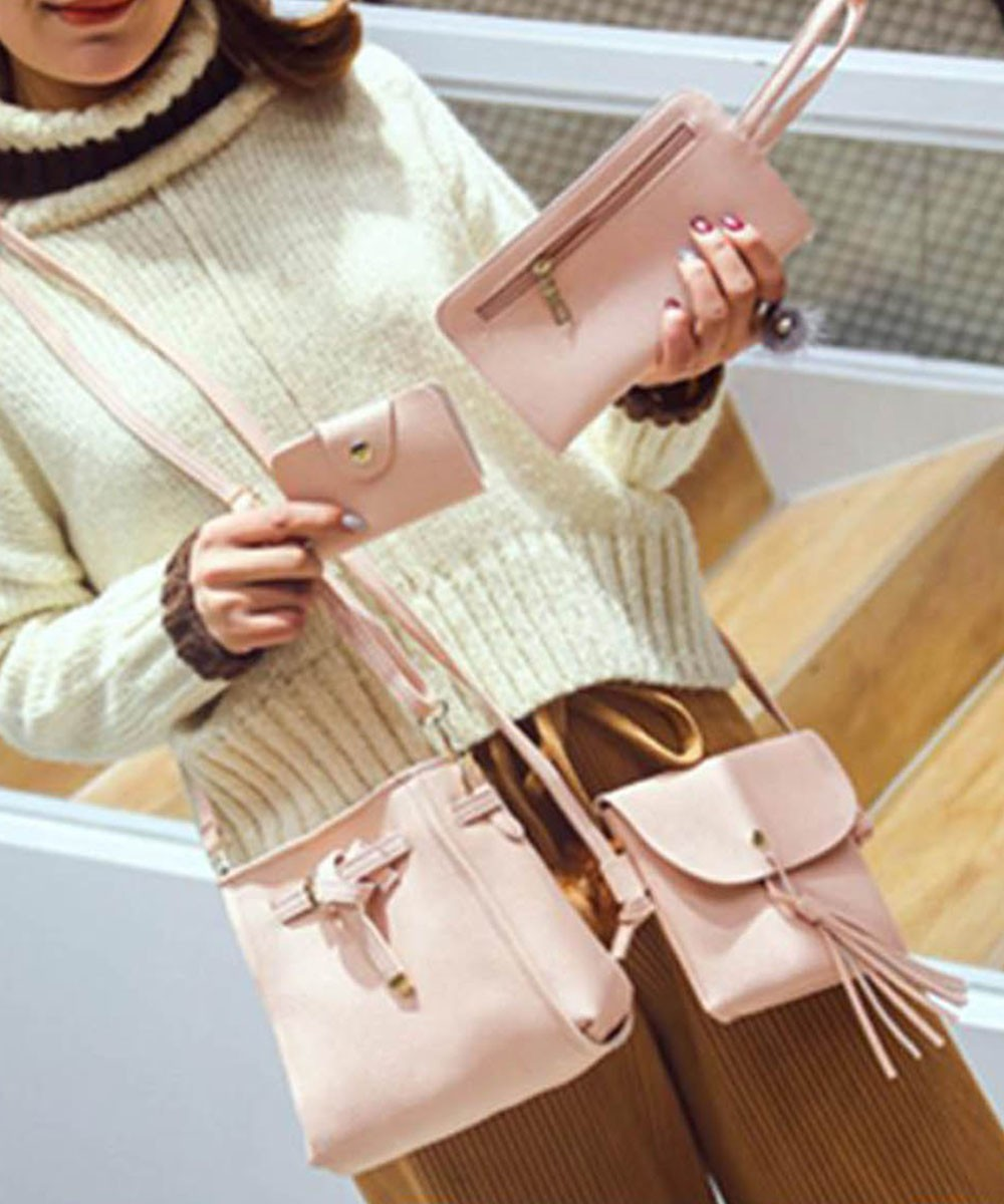 4pcs Set Shoulder Crossbody Bag Handbag Pink