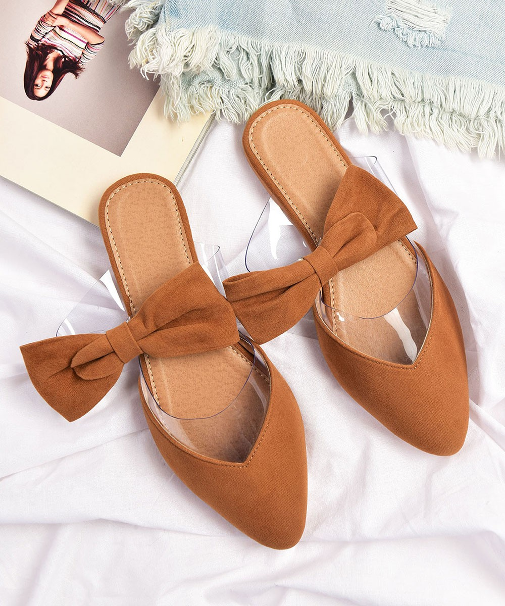 Tiffany loves me back brown mules