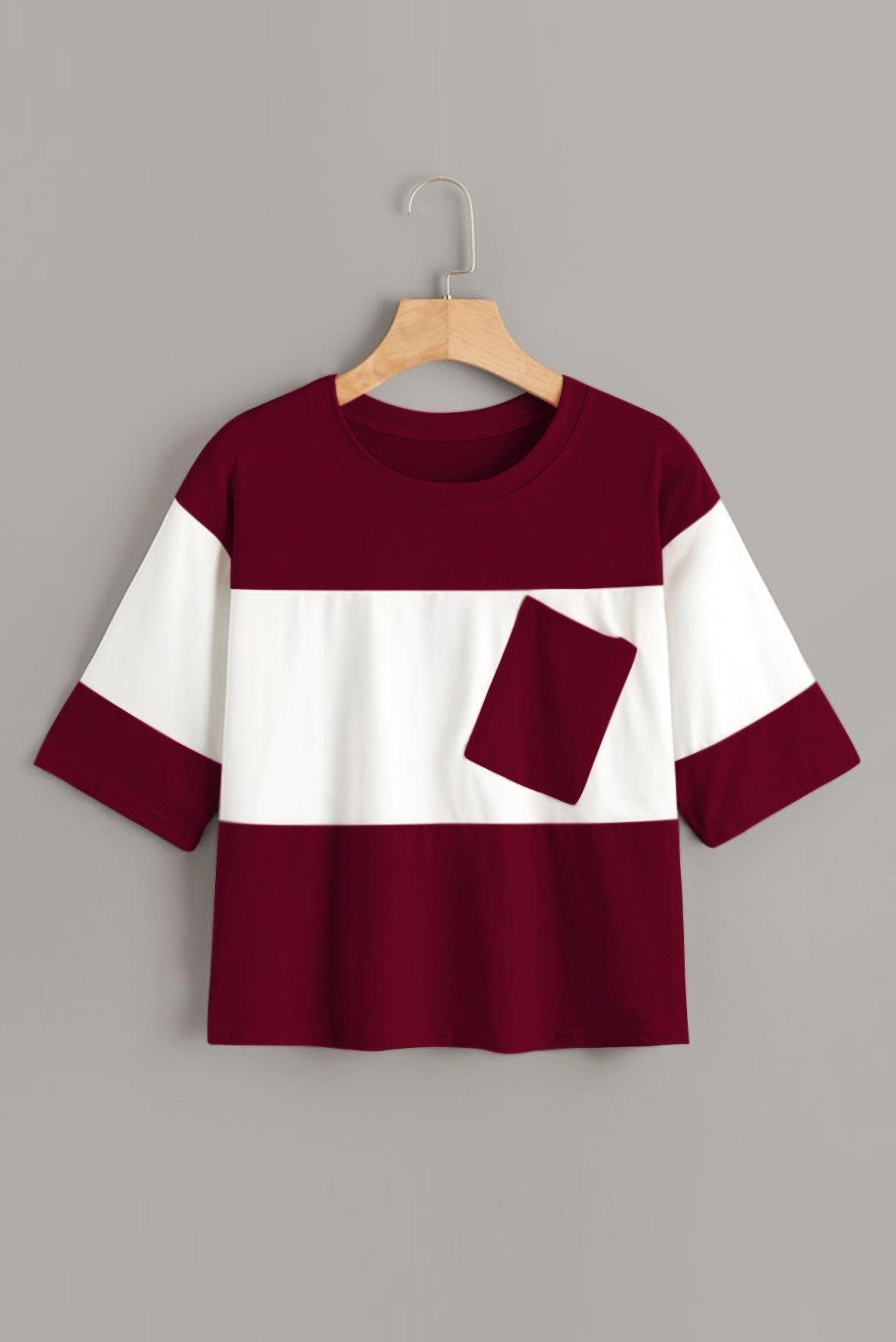 Contrast two tone white & marsala t-shirt