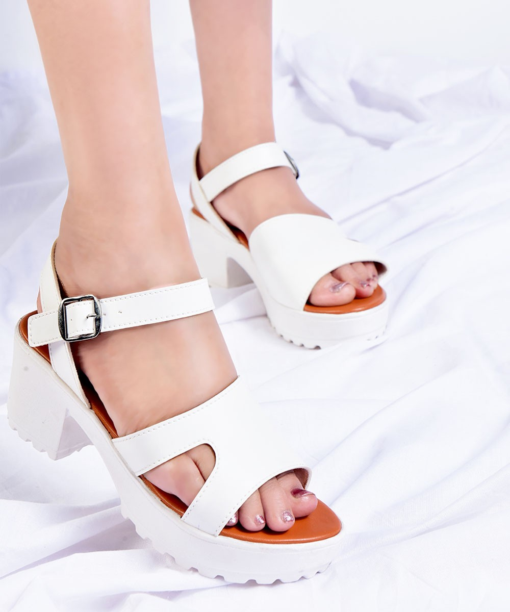White strappy ankle platfrom
