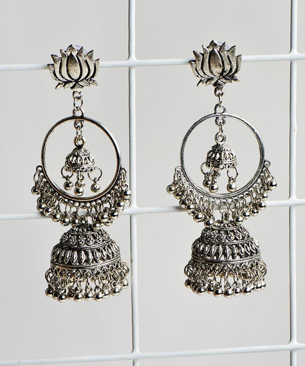 Lotus on the Top Jhumka Earrings