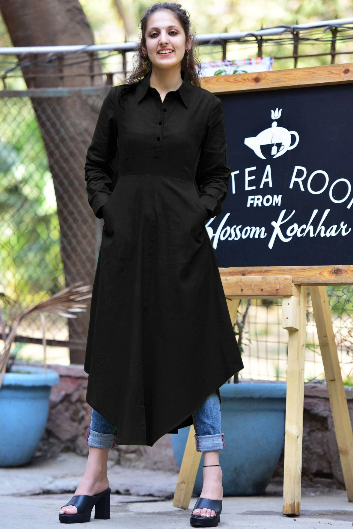 Let's be liitle more Black kurti