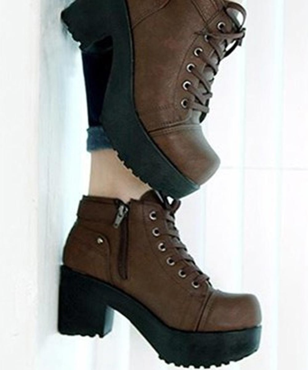 Platform Buckled-Detail Ankle Boots