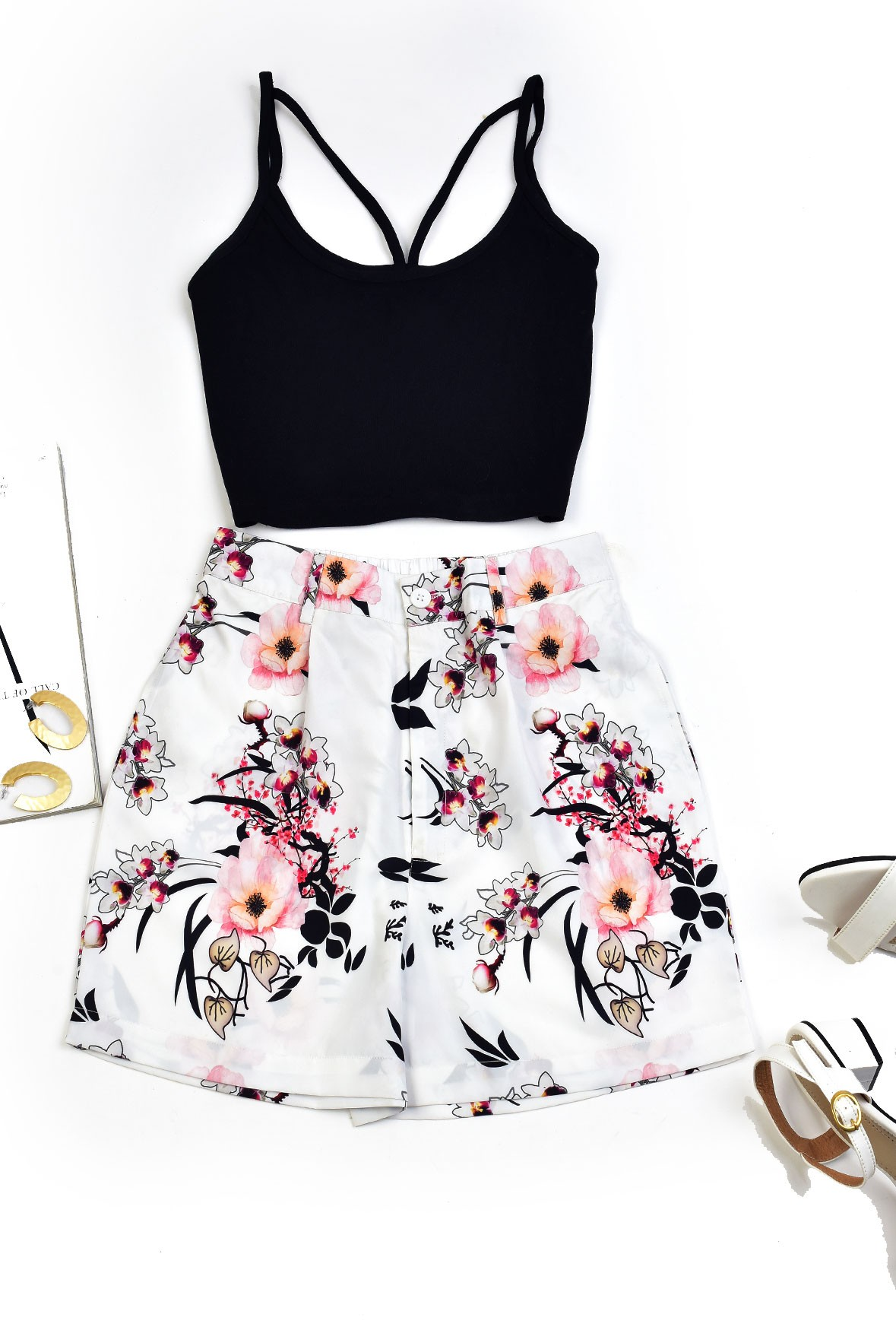 Set-black top with floral shorts