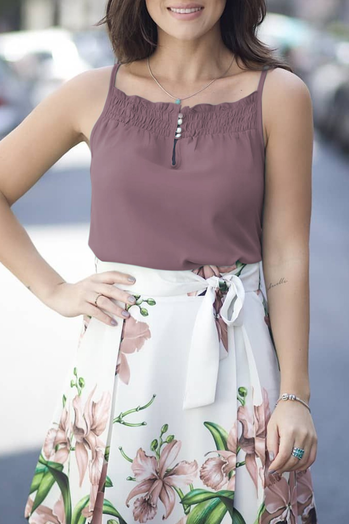 All About Hue Violet brown Top