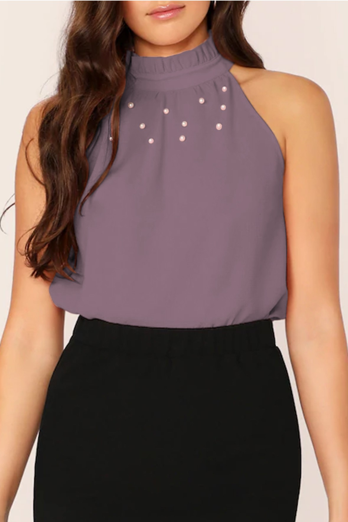 Frilled Neck Pearls Beaded Top Violet Brown