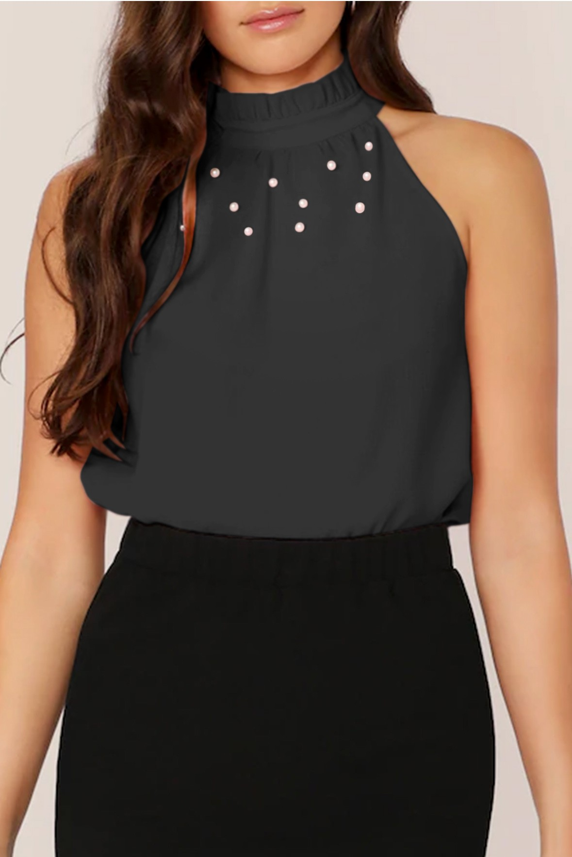 Frilled Neck Pearls Beaded Top Black