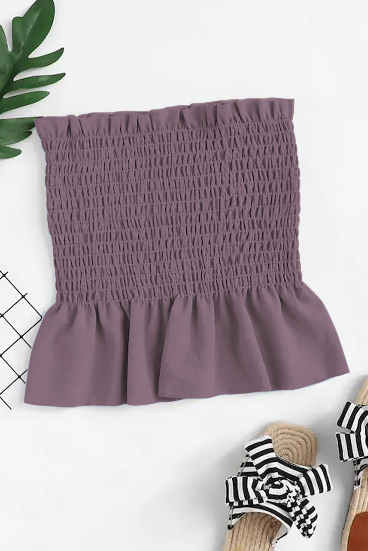 Ruffle Trim Pleated Tube Top Violet Brown