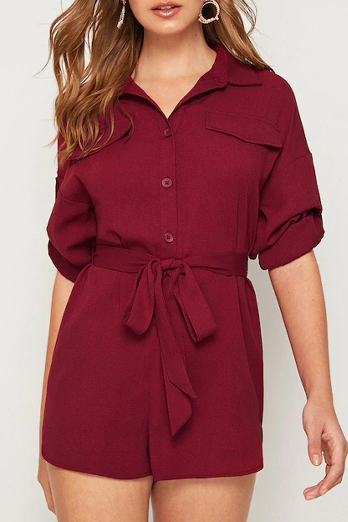 Roll Tab Sleeve Button Front Belted Marsala Romper