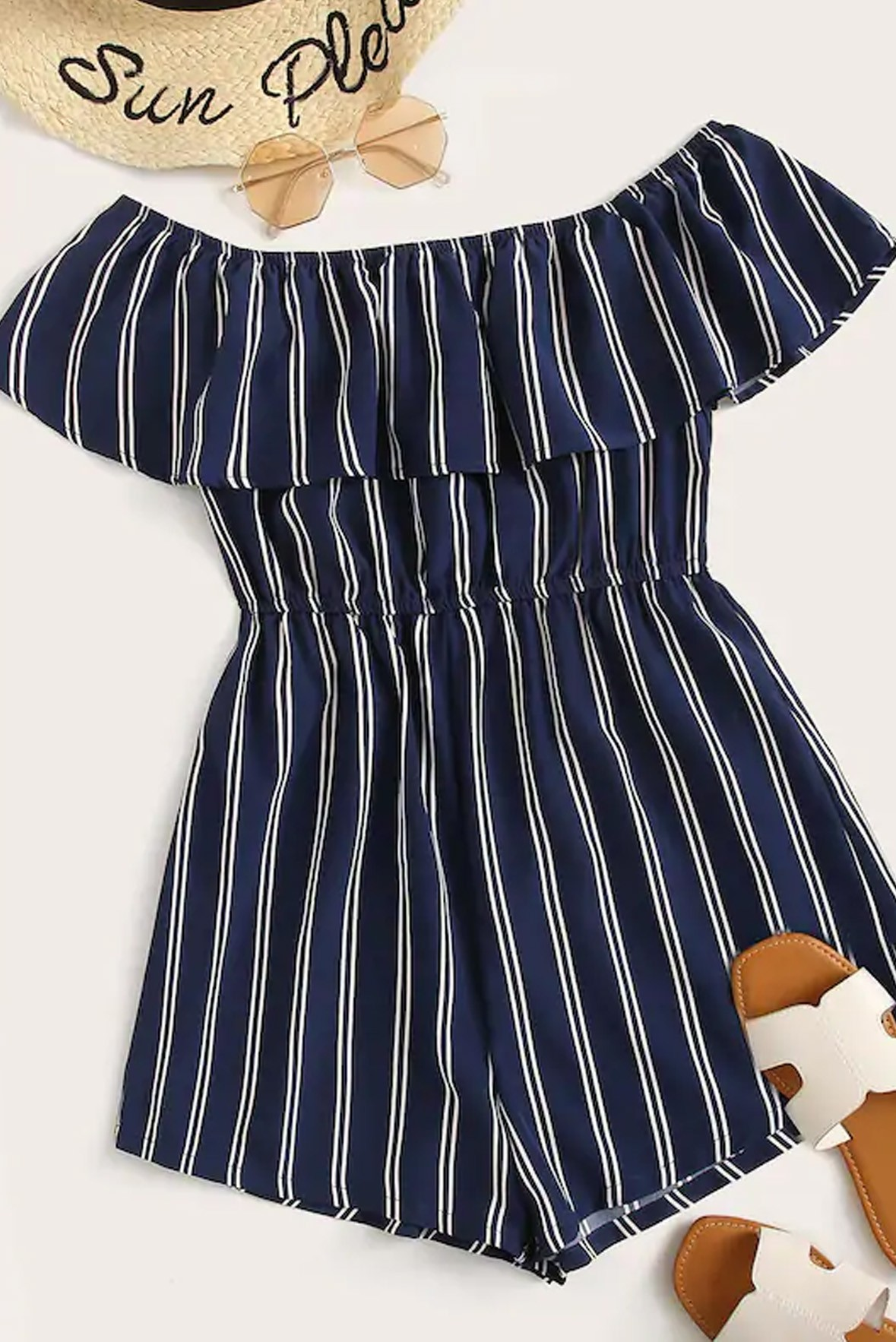 Striped Print Ruffle Trim Bardot Blue Romper