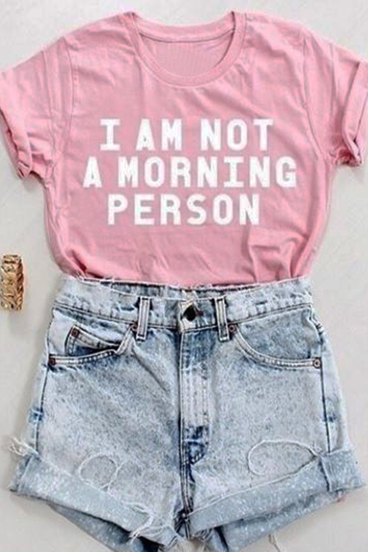 I am not a morning person tee pink