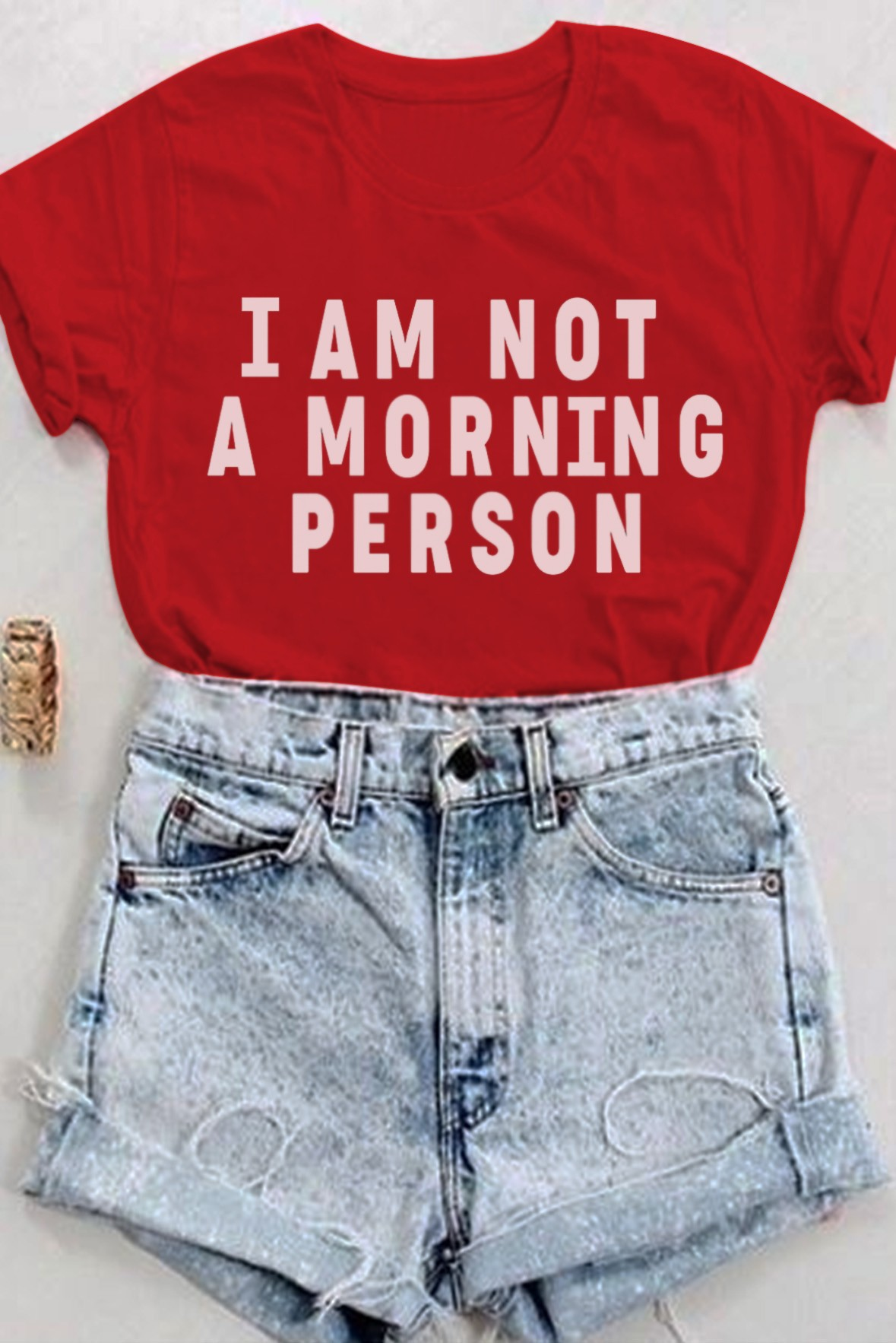 I am not a morning person tee red