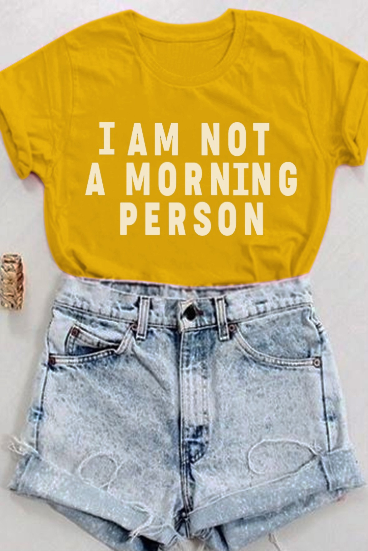 I am not a morning person tee mustard