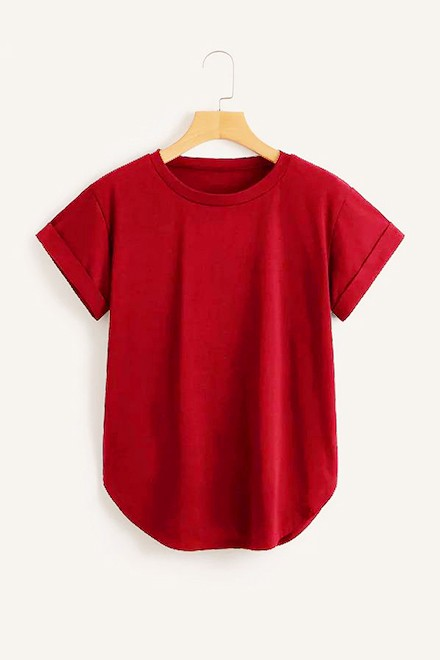 Rolled Cuff Curved Hem Tee Red
