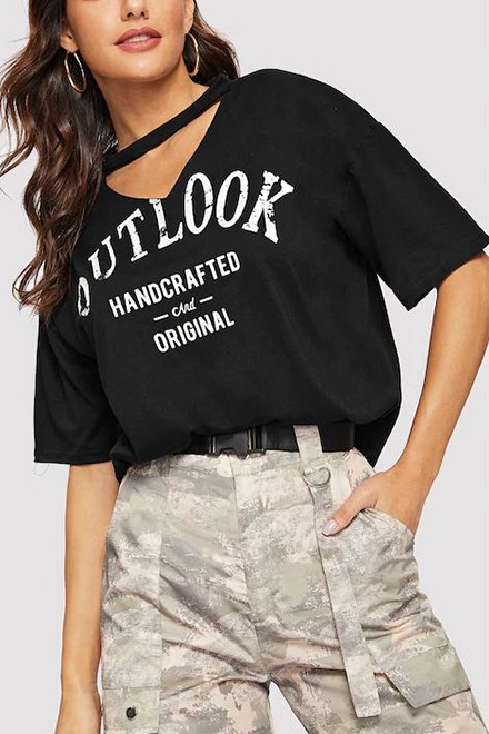 V Cut Neck Letter Printed Tee Black