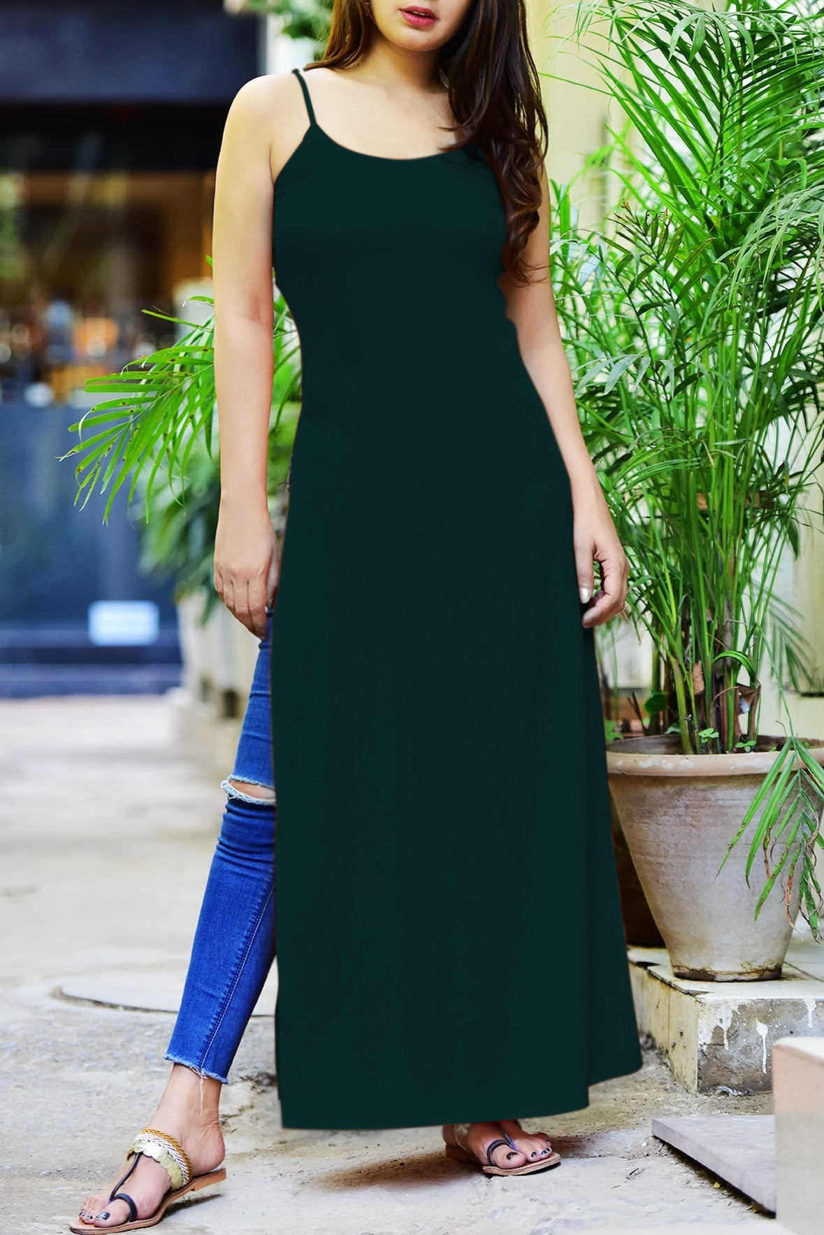 Savored Rays Slit Kurti Green