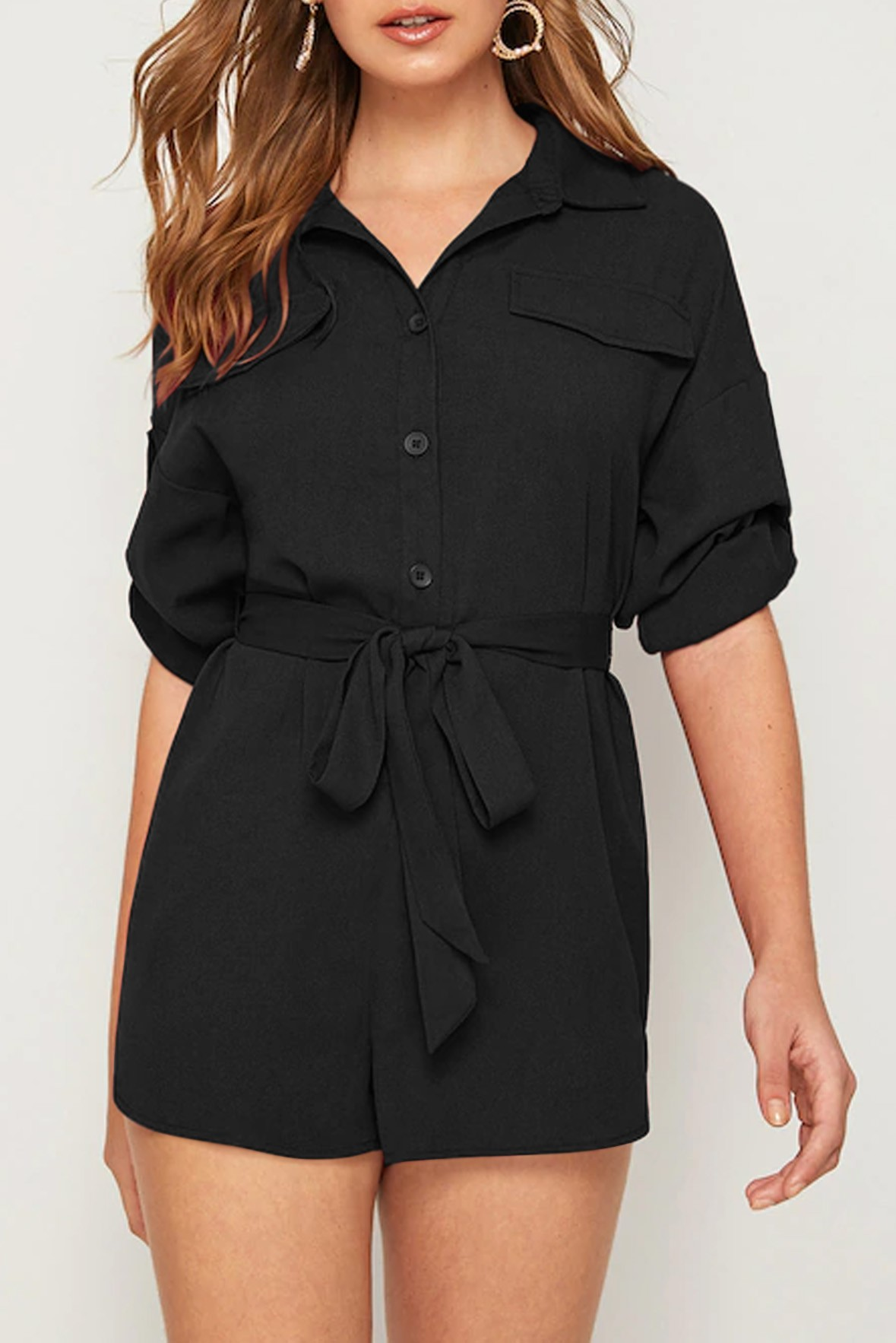 Roll Tab Sleeve Button Front Belted Black Romper