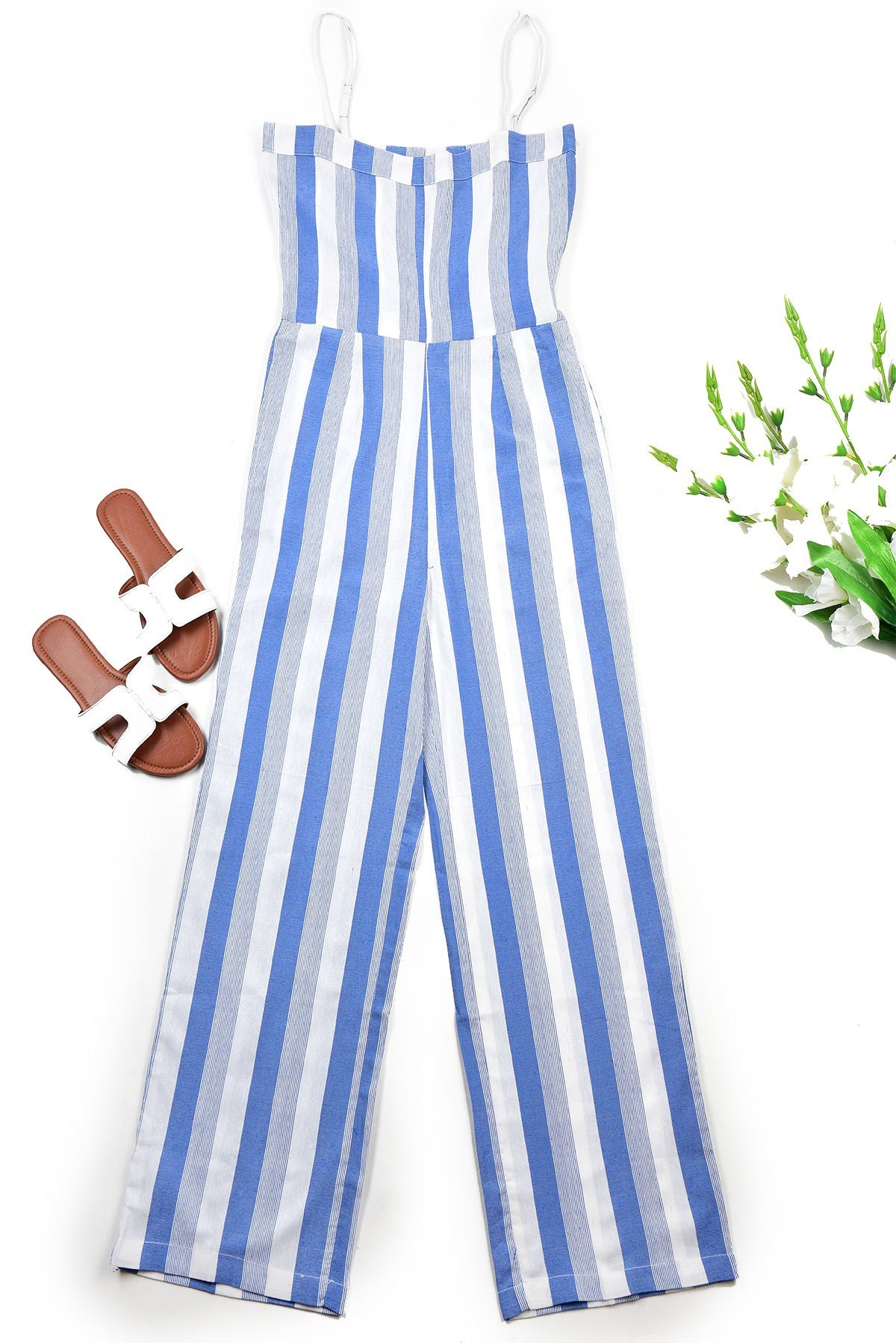 Blue and white stripe Jumpsuit