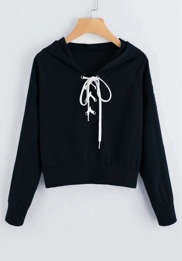 Lace Up Solid Hooded Sweatshirt