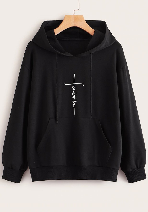 Letter Graphic Drawstring Hooded Sweatshirt