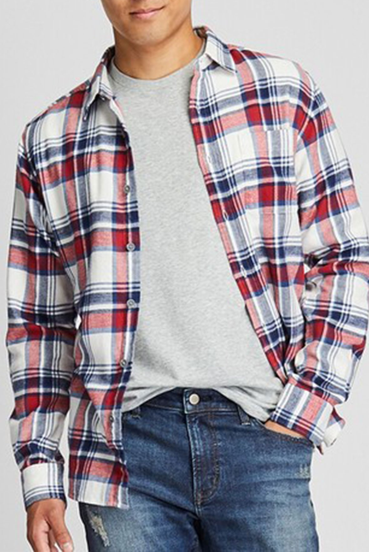 Men's Basic Full Sleeves Blue and Red Check Shirt S197