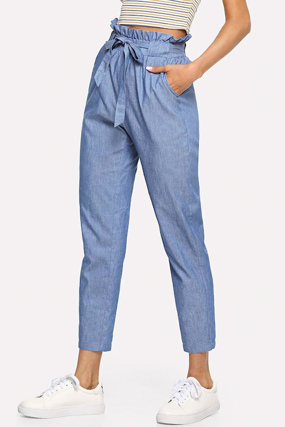 Ruffle detail belted chambray trouser