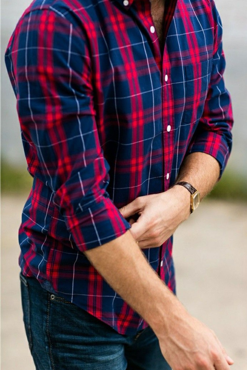Men's Basic Full Sleeves Red and Blue Plaid Shirt S201