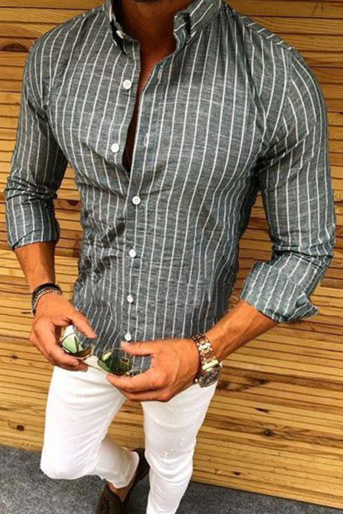 Men's Basic Full Sleeves Striped Shirt S321