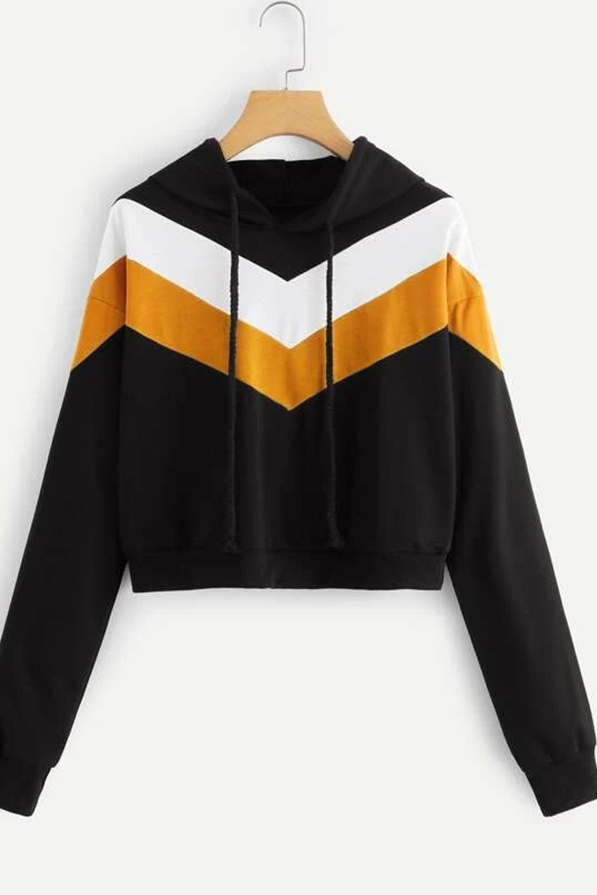 Colorblock Drawstring Crop Hoodie Black Mustard
