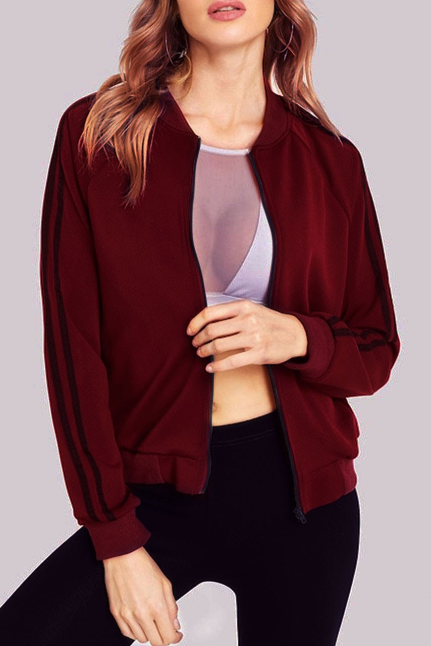 Zip Up Raglan Sleeve Sweatshirt Marsala