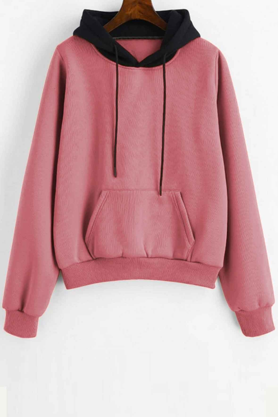 Women's Pouch Pocket Fleece Pullover Hoodie Pink