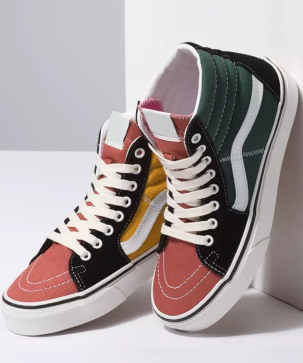 Contrast tone high ankle sneakers