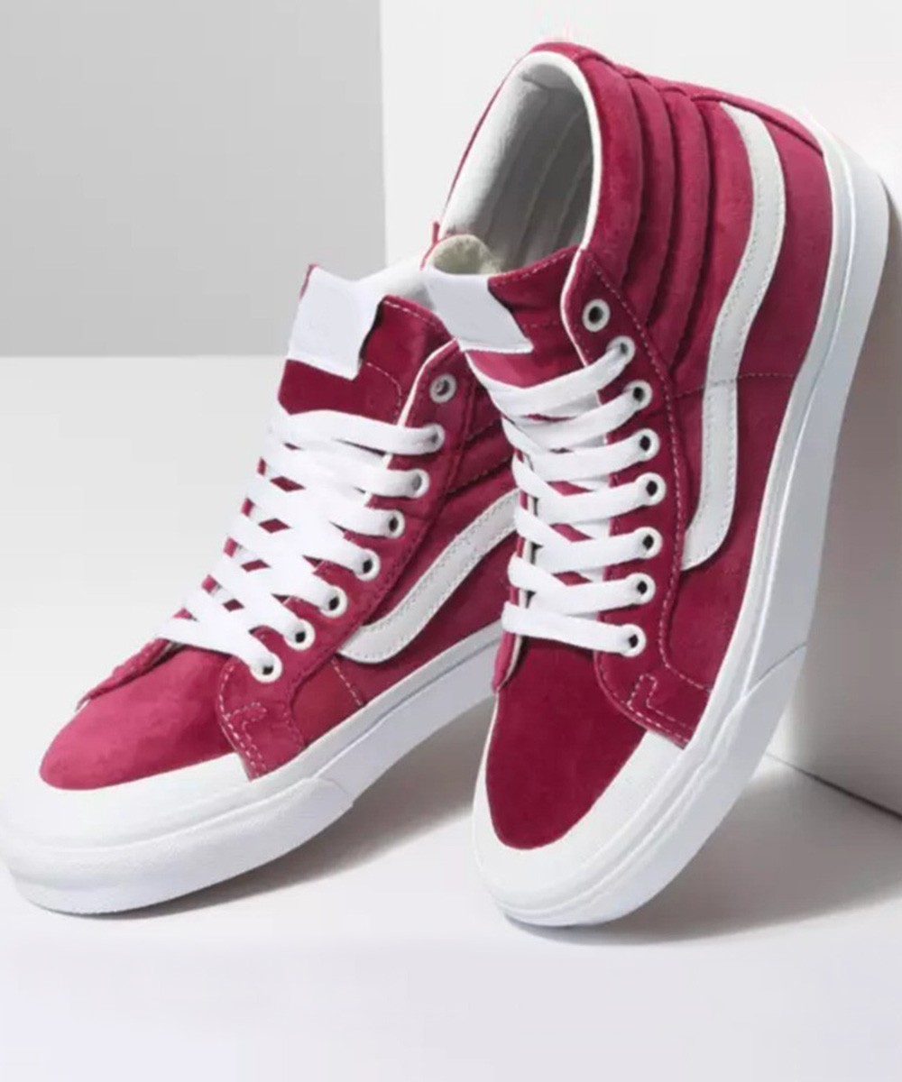 Red tone high ankle sneakers