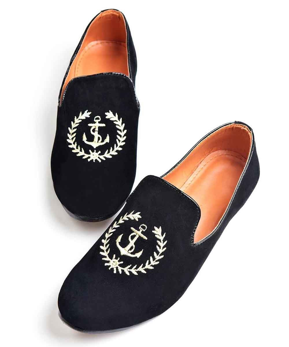 Black embroidered loafers
