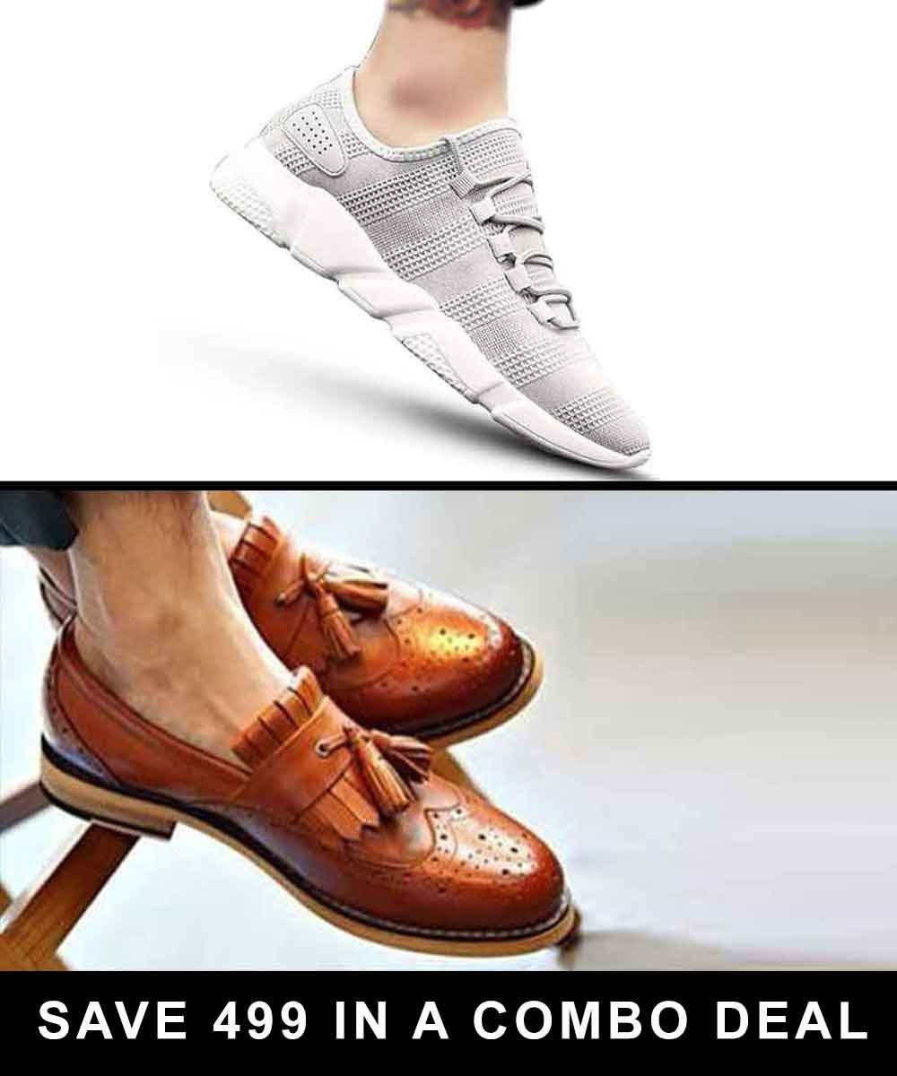 Combo - Grey casual sneakers and Glam tan loafers