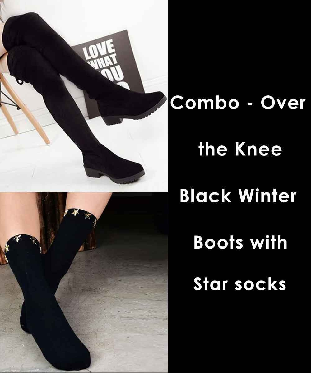 Combo - Over the Knee Black Winter Boots with star socks
