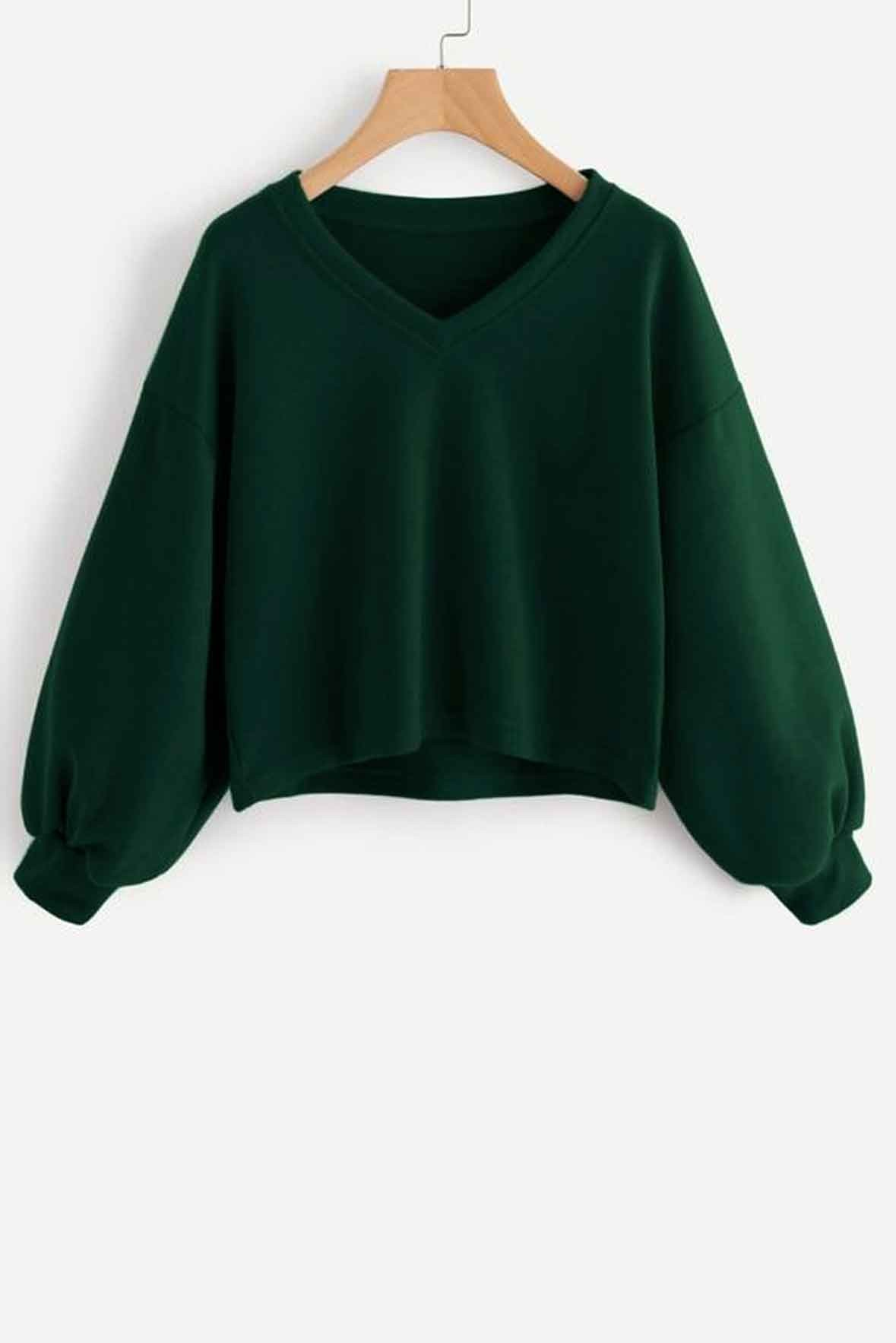 Solid Casual V neck Lantern Sleeve Sweatshirt Green