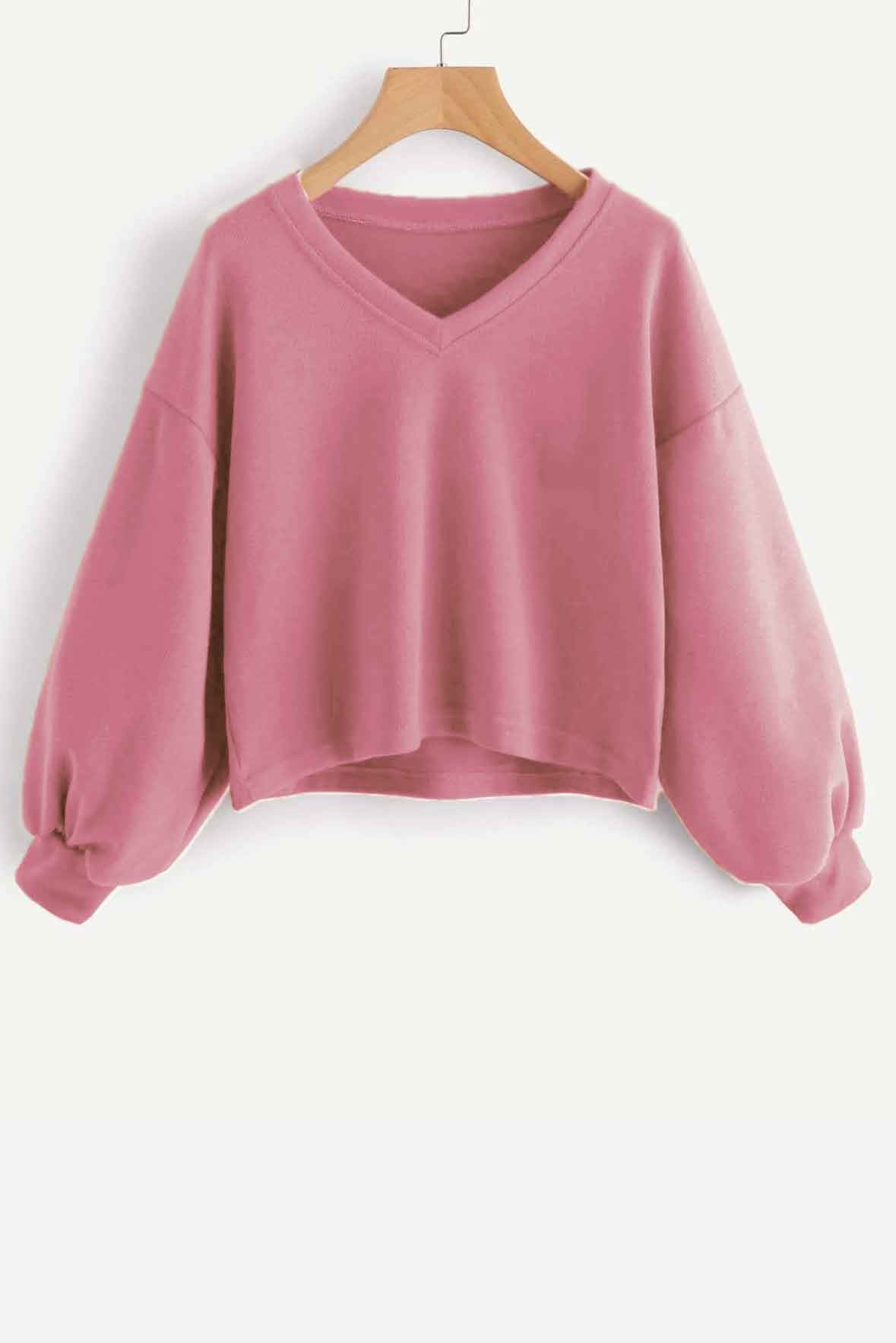 Solid Casual V neck Lantern Sleeve Sweatshirt Pink