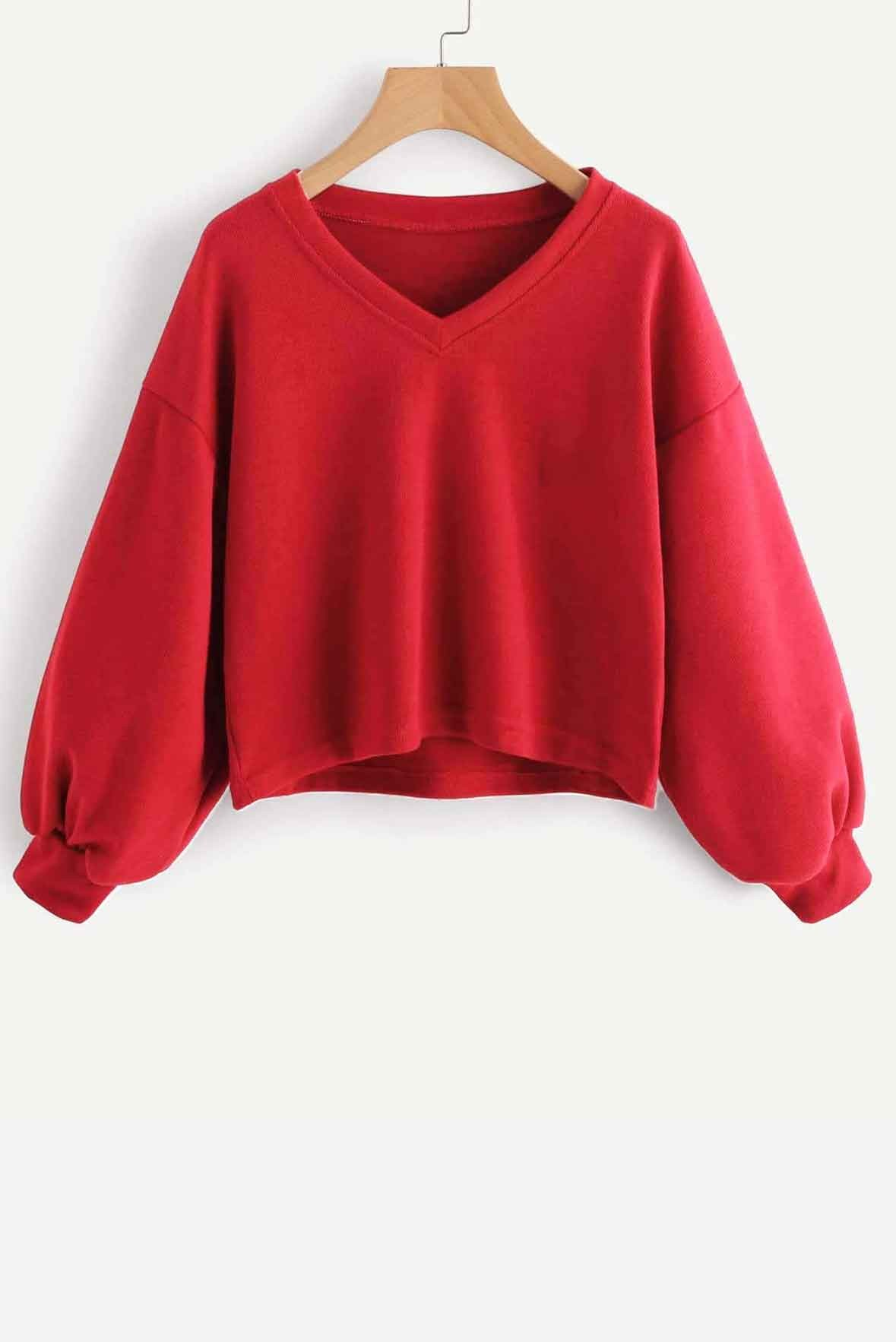 Solid Casual V neck Lantern Sleeve Sweatshirt Red