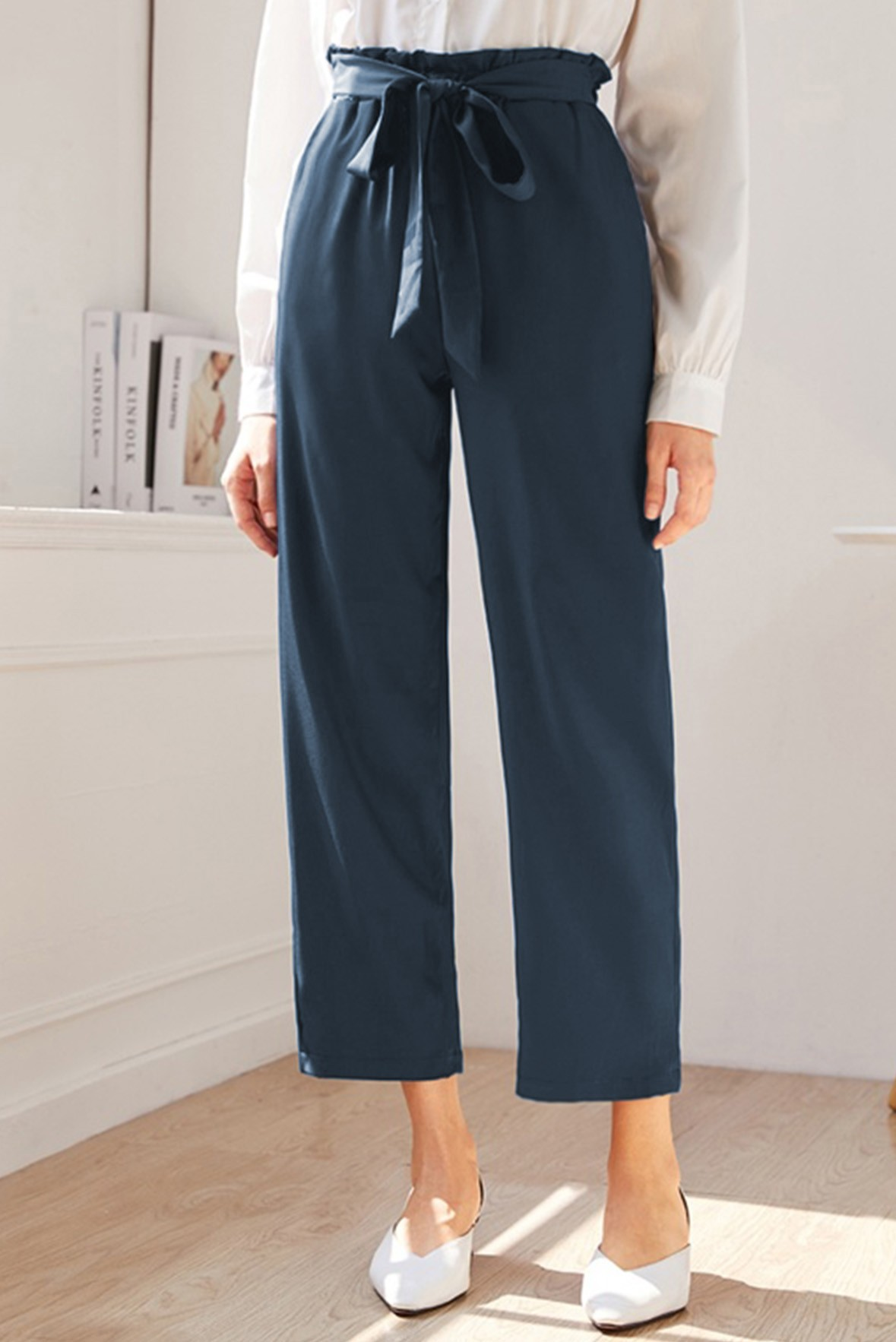 Solid Paper Bag Waist Belted Pants Steel Blue