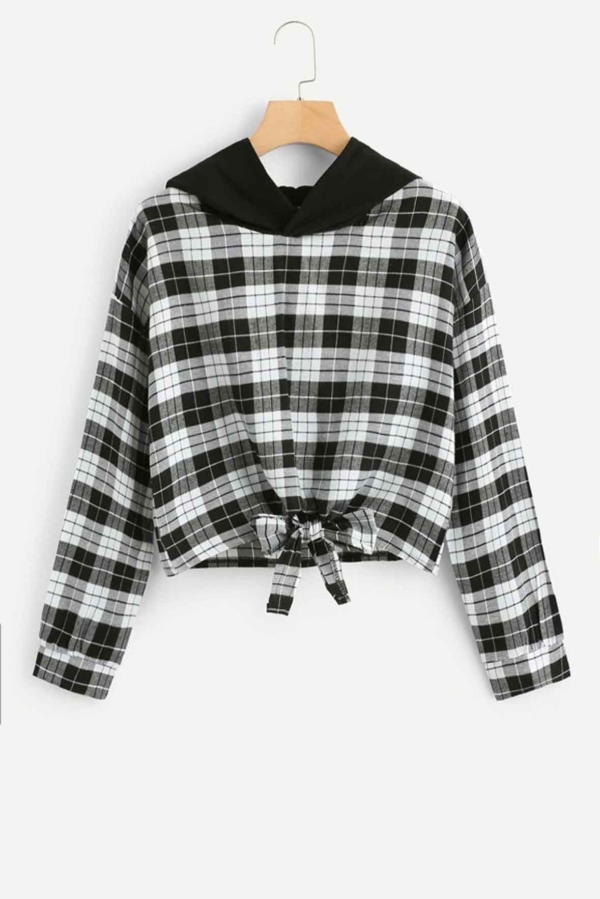 Knot Front Checked Hooded Top