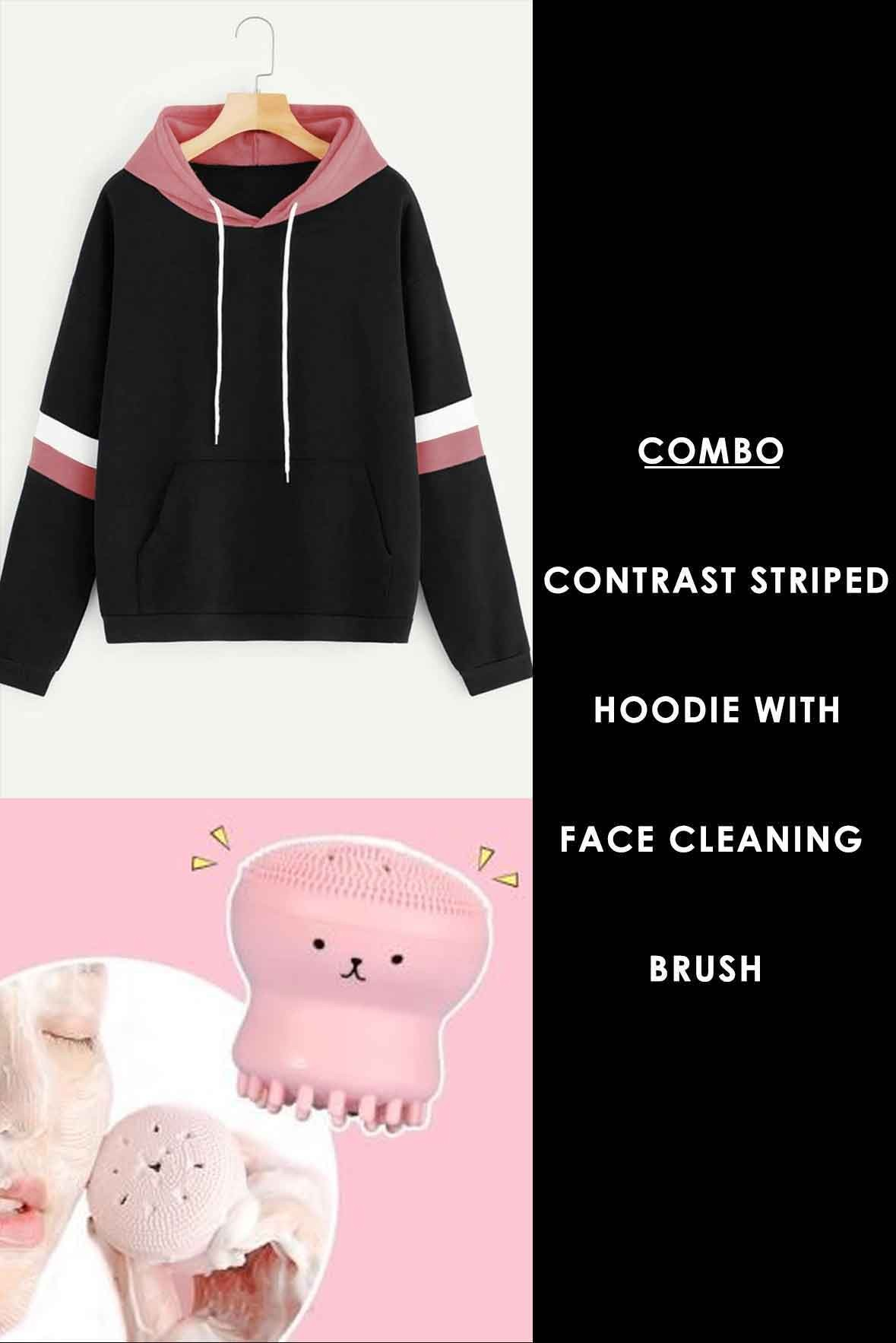 Combo - Contrast Striped Hoodie with Face cleaning brush