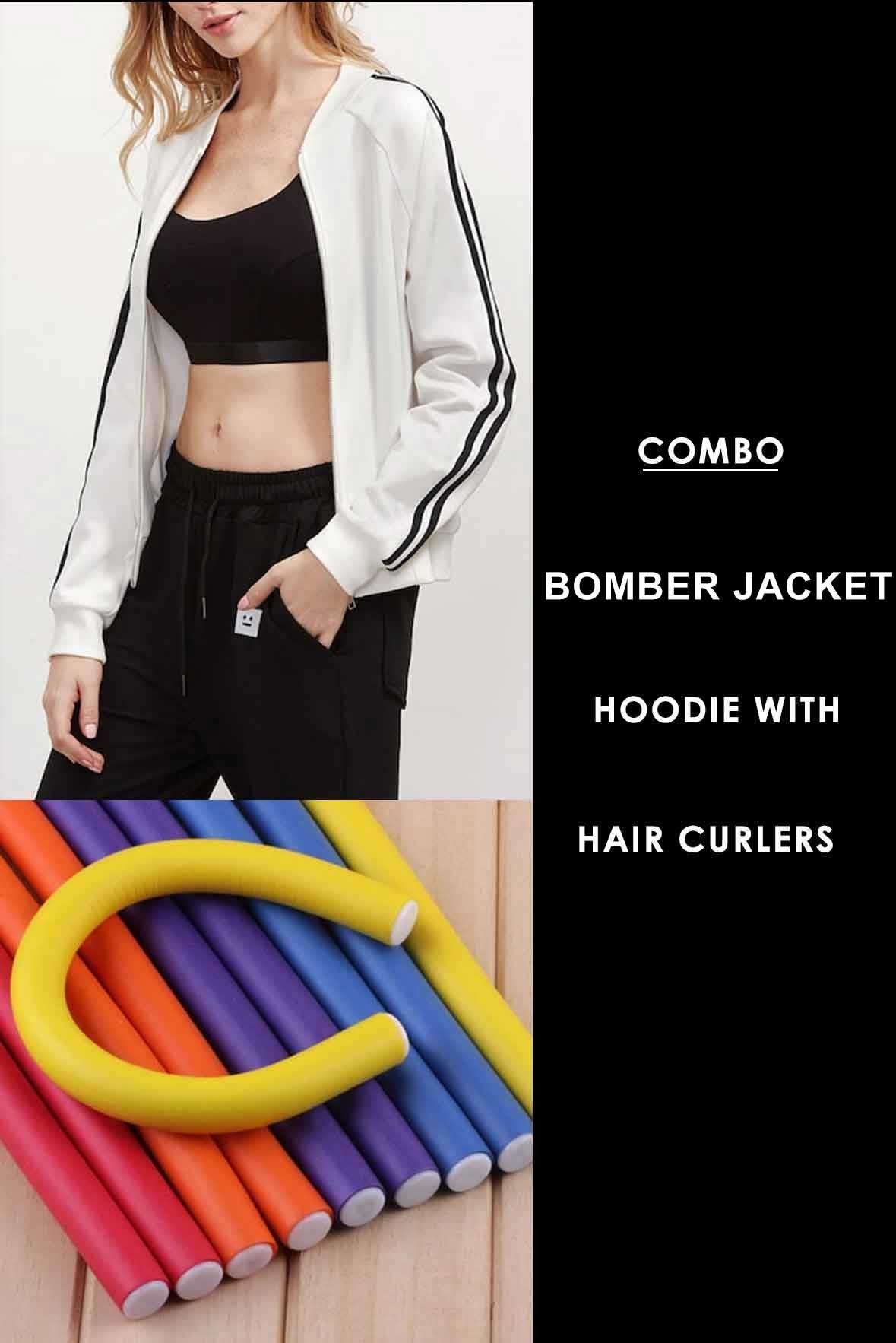 Combo - Striped Sleeve Bomber Jacket with Hair curler