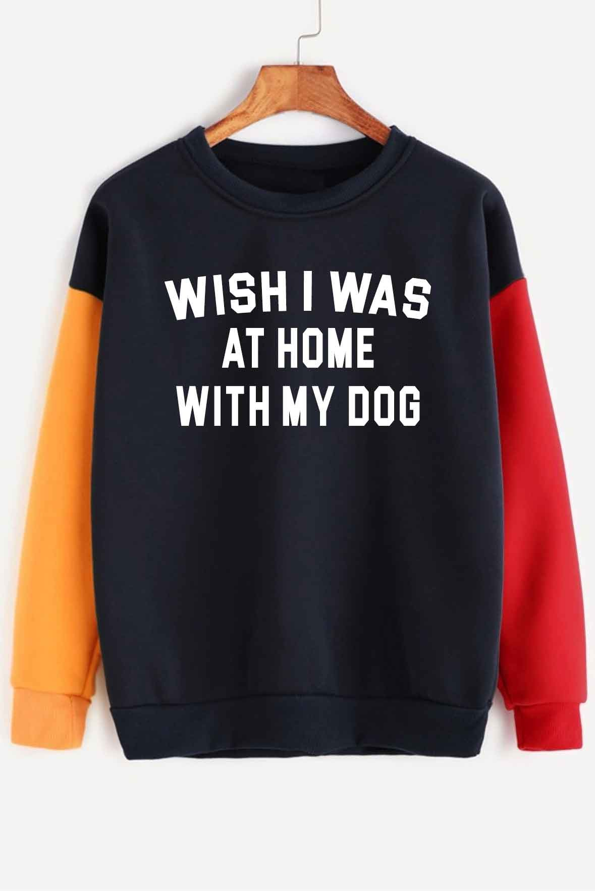 With my dog sweatshirt