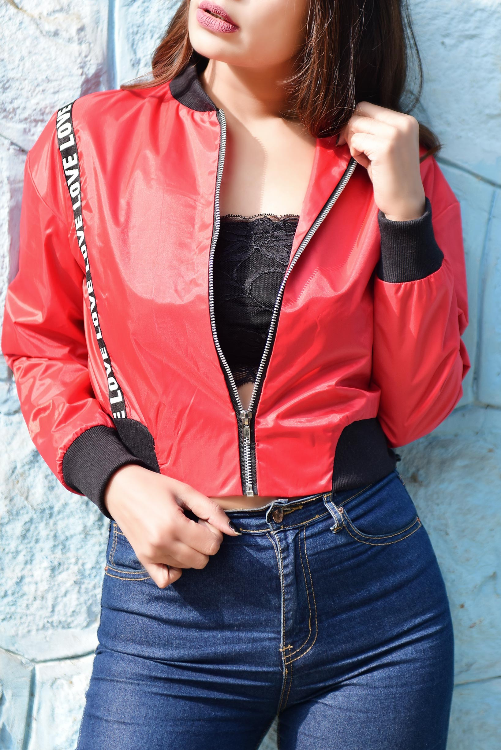 Love tape crop bomber jacket